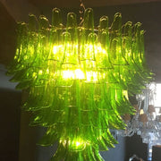 Green Murano glass petal chandelier in custom sizes