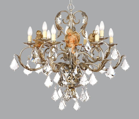 Silver Metal Chandelier with Wooden Angel & Swarovski Elements