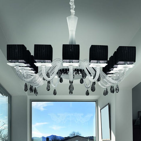 Modern chrome dining room chandelier with black shades
