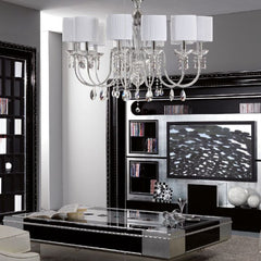 Long chrome or gold and glass chandelier with shades