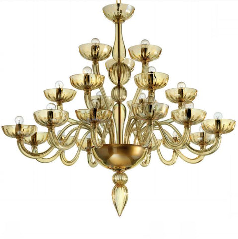 Elegant modern amber glass chandelier with custom colour options