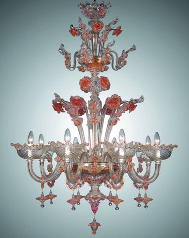 Murano glass chandelier with pink and gold flowers