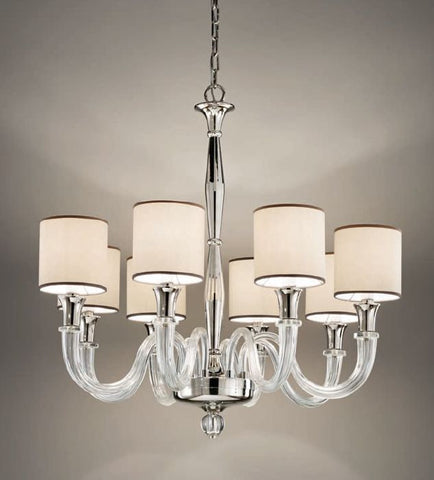 Customizable Italian chandelier with glass-covered arms