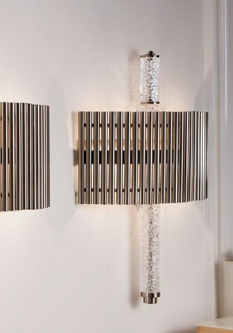 Modern metal rod wall light with crystal detail