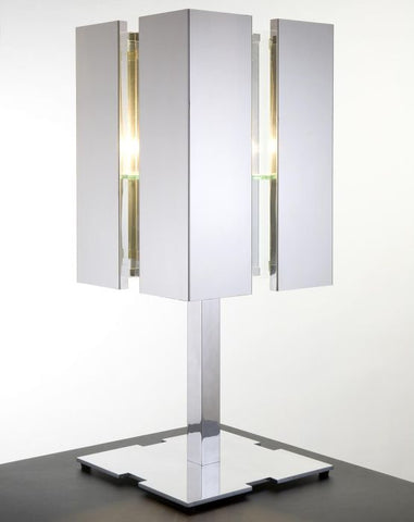 Modern glossy black, white or steel table light from Holland