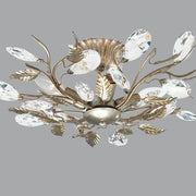 Bronze & Silver Leaves Ceiling Light with Swarovski Elements