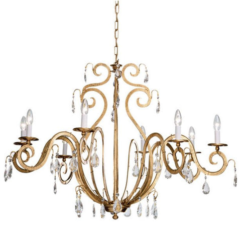 8 Lamp Gold Metal Chandelier with Glass Crystals