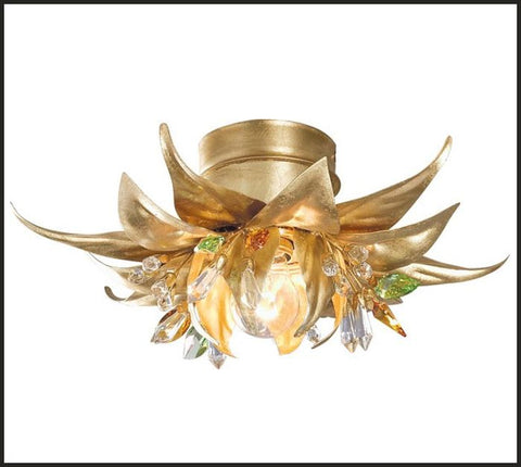 Gold Metal Work Leaves with Green & Clear Swarovski Elements