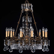 12 Light Bohemian crystal and brass chandelier