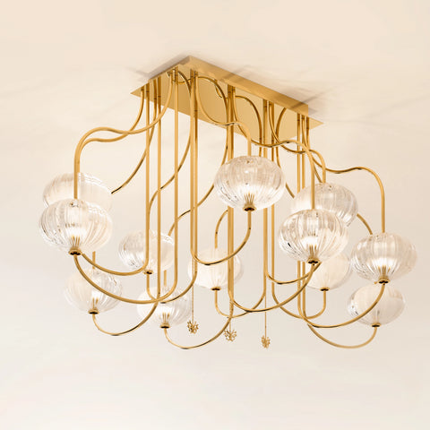 Beautiful Ceiling Light with Murano Glass Shades by Beby