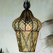 Amber Murano glass ceiling lantern with baloton finish