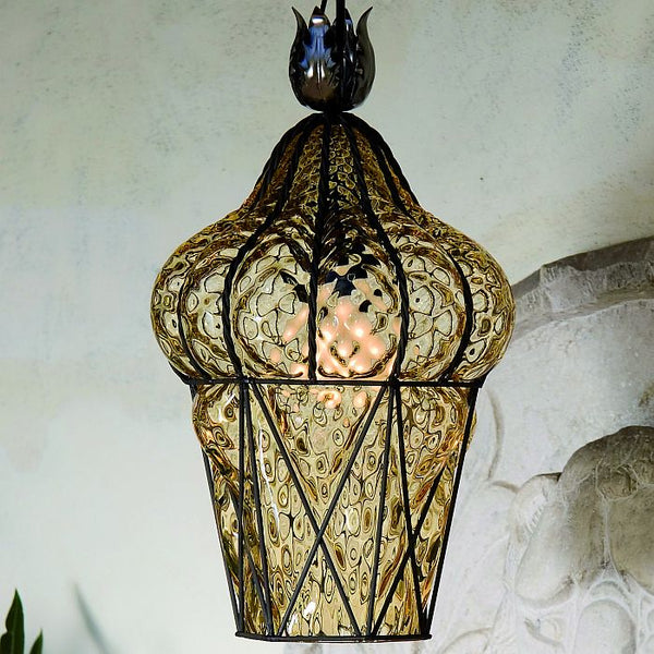 Venetian Coloured Glass Lantern Amber Murano Glass