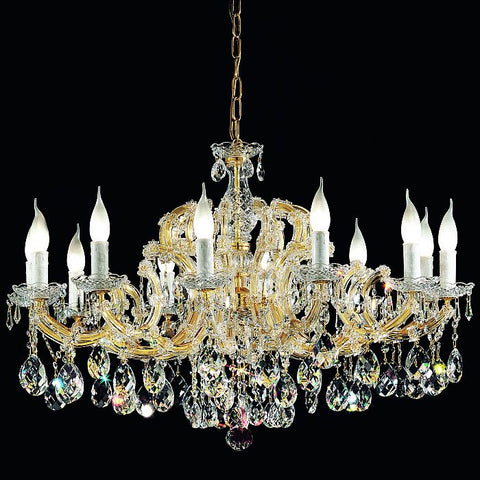12 Light Gold Plated Crystal Glass Chandelier