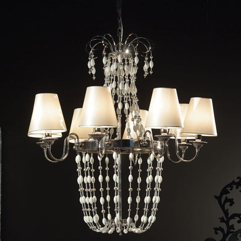 Modern white or red chandelier with Murano glass pearls