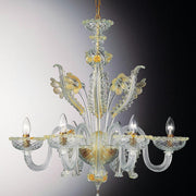 Murano 6 light glass chandelier with golden flower decorations