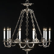 traditional 10 arm silver oxide chandelier