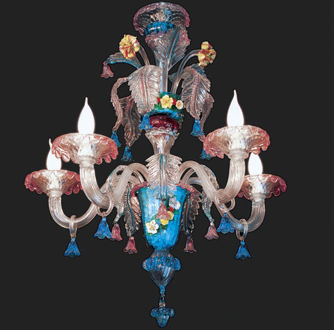 5 Light floral Murano Chandelier