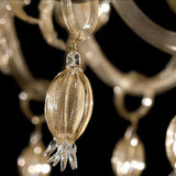 Luxury clear Murano glass chandelier infused with gold