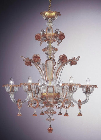 Coral and gold Murano glass chandelier
