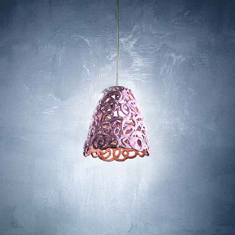 Lilac cone-shaped ceramic spaghetti ceiling pendant