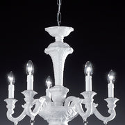 Da Ponte 5 Arm white porcelain 5 light chandelier by Bassano