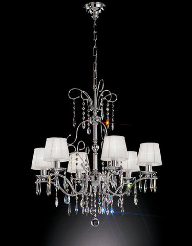 Swarovski crystal chandelier with 6 white shades