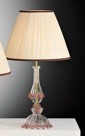 Murano glass lamp base with pink or gold detail