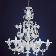 Six light clear and gold Murano hand-blown chandelier