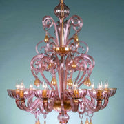 Eight light amethyst Murano glass chandelier