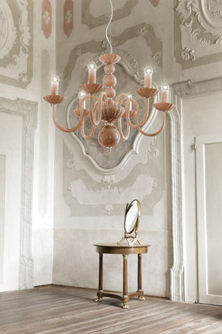 Rose-pink blue or white glass chandelier in 8 sizes