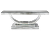 Long Venetian mirrored console table in the art deco style