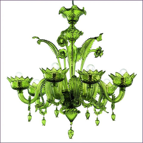 Green Murano glass custom chandelier in several sizes