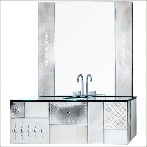 Engraved Venetian mirrored vanity unit with back-lit spheres