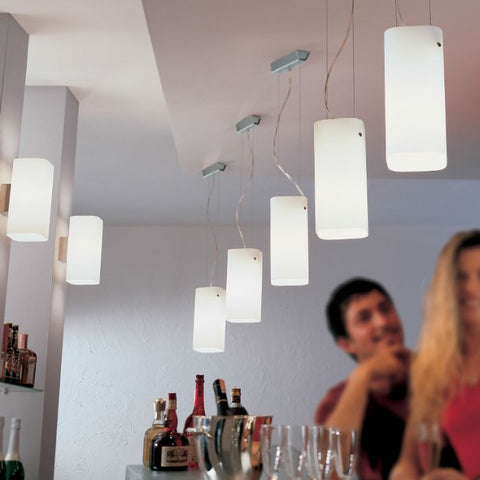 Modern satin white Murano glass and chrome pendant light