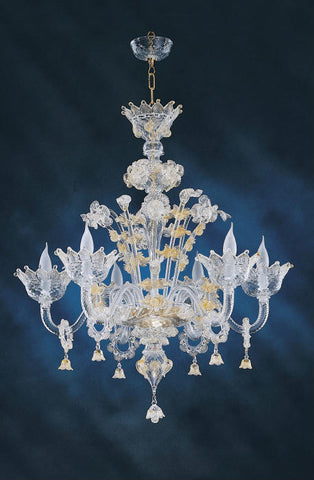 6 Light clear Murano chandelier with gold flowers