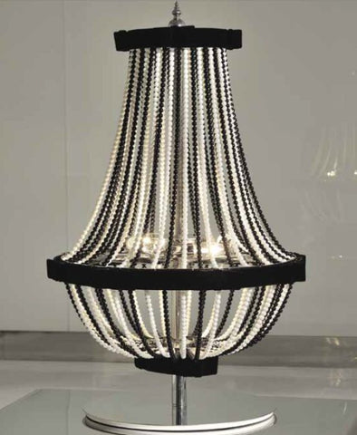 Black and or white crystal table lamp with velvet trim