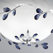 Chrome ceiling light with blue Swarovski crystals