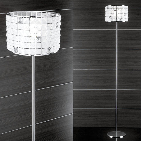 Frosted square-cut glass standard lamp with silver metal frame