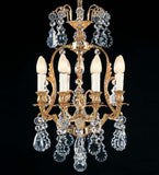8 Light French Gold Chandelier with Bohemian Crystals
