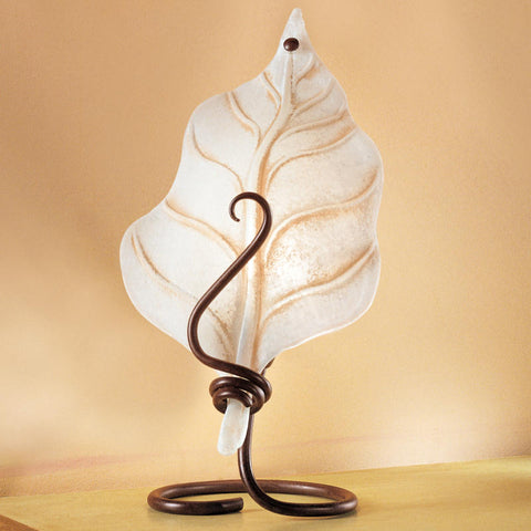 Orione' white glass traditional iron table lamp