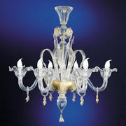 Six arm clear Venetian glass chandelier with pretty flowers