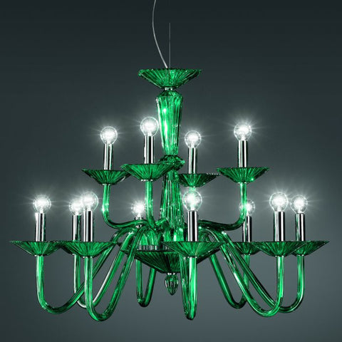 Italamp glass chandelier in 3 sizes & 4 colours