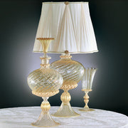 Murano crystal and gold ribbed glass table lamp