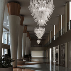 Custom white & clear Murano glass petal chandelier