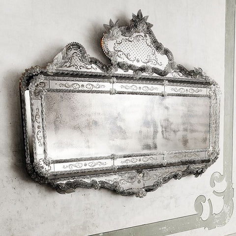 Elegant Venetian over-mantel mirror glass in the baroque style