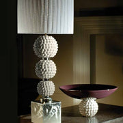 Modern white majolica table lamp with soft pleated white shade