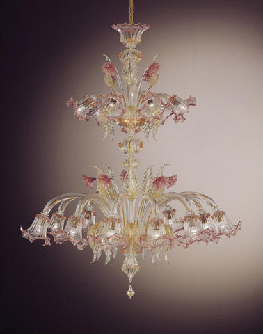 Gold and pink 16 light pastoral Murano glass chandelier