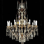 18 Light Brass Chandelier with Bohemian Crystals