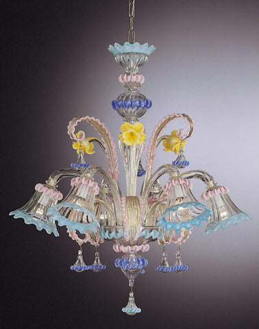 Multi coloured floral Murano glass chandelier with 6 lights
