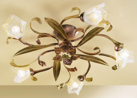 floral ceiling light | five arm copper and Italian glass flower ...